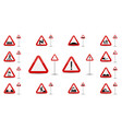 sign warning slippery road in red triangle is a vector image vector image