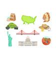 usa national symbols set items isolated vector image