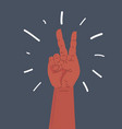victory hand isolated on dark background vector image vector image