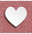 White heart button on red sequin background vector image vector image