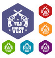 wild west revolver icons hexahedron vector image vector image