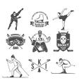 winter sport badges set vector image vector image