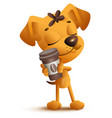 yellow dog puppy holding coffee cup coffee break vector image