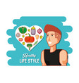young athlete training sport with healthy vector image vector image