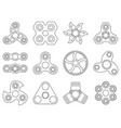 mono line pictures of hand spinner toys for vector image