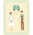 wedding couple and car vector image