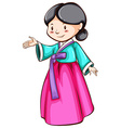 A simple sketch of an Asian girl vector image
