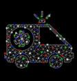 bright mesh 2d ambulance car with flash spots vector image vector image