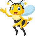 cartoon happy bee waving hand vector image vector image