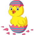 cartoon little chick hatching from an easter egg vector image vector image