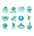 clean water icons with blue drops and green leaf vector image