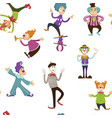 clown and mime entertaining people seamless vector image vector image