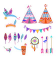 colorful isolated cute cartoon tribal set vector image