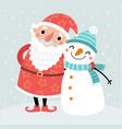 cute card with santa and snowman vector image vector image