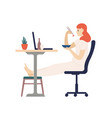 cute smiling girl eating dinner with chopsticks vector image