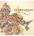 elegant invitation card with roses vector image vector image