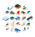 fabric icons set isometric style vector image vector image