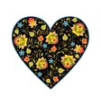 floral heart with traditional russian pattern vector image vector image