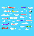 flying advertising banner sky planes banners vector image vector image