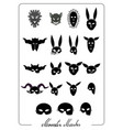 ghost monsters and evils halloween masks set vector image