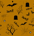 halloween seamless pattern design with bat spider vector image vector image