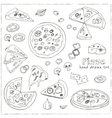 hand drawn set with pizza vector image vector image