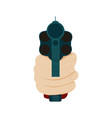 hand holding gun in front view vector image