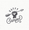happy camper abstract vintage sign symbol vector image