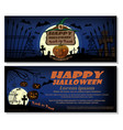 happy halloween full moon over the cemetery vector image