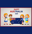 happy kids holding a flag on australia day vector image vector image