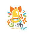 happy teachers day label back to school logo vector image