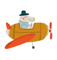 hippo pilot flying on retro plane in sky cute vector image vector image