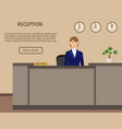 hotel reception desk business office concepr vector image vector image