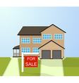 House with for sale sign Selling home vector image vector image