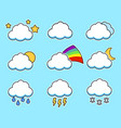 icons flat cloud set for your design on blue vector image vector image