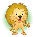 lion cartoon mascot thumbs up vector image