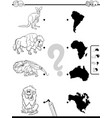 match animals and continents task color book vector image vector image