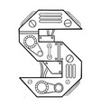 mechanical letter s engraving vector image