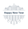 New Year and Christmas linear design vector image