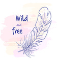 printable hand drawn with feather on watercolor vector image vector image