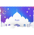 ramadan kareem arabic mosque clouds white stars vector image vector image