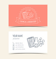Red business cards for chemical laboratory and vector image