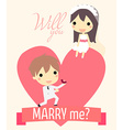 romance propose couple vector image