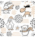 seamless pattern with cute penguinreindeerbear vector image vector image