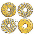 set gold donuts with silver cream vector image vector image