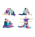 set of concept family flat icons flat style modern vector image