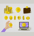 set of flat cryptocurrency and bitcoin symbols vector image