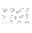 set of fruits and vegetables line icons vector image vector image