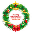 set of realistic christmas wreath garland ornament vector image vector image