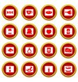shop navigation foods icon red circle set vector image vector image